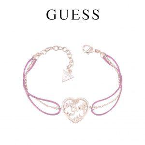 Guess® Pulseira Heart Charm Fuxia