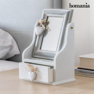 Caixa De Jóias De Madeira Com Espelho e Gaveta Queen Homania