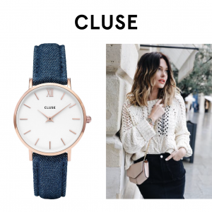 Relógio Cluse® Minuit Rose Gold White/Blue Denim | 33MM