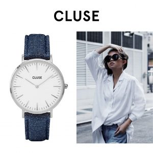 Relógio Cluse® La Bohème Silver White/Blue Denim | 38MM