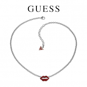 Guess® Colar Kiss | Prateado e Vermelho