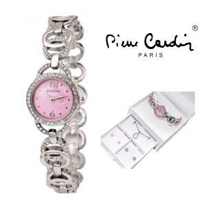 Conjunto Pierre Cardin® Cristals Pink | Relógio | Colar | 4 Brincos