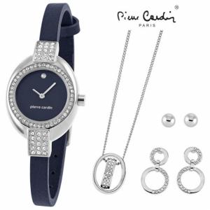 Conjunto Pierre Cardin® Cristals Blue | Relógio | Colar | 2 Brincos
