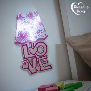 Adesivo para Parede com LED Corações Romantic