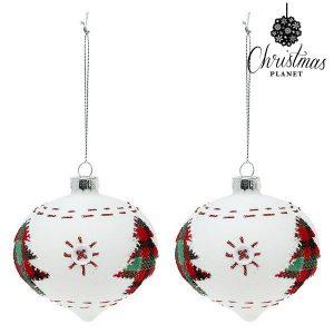 Bolas de Natal Christmas Planet 8 cm | 2 uds | Cristal Branco