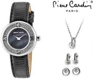 Conjunto Pierre Cardin® Blue Pearl | Relógio | Colar | 4 Brincos