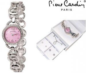 Conjunto Pierre Cardin® Cristals Pink | Relógio | Colar | 2 Brincos