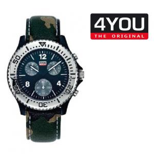 Relógio 4YOU® Cronógrafo | Bracelete Camuflada Verde | Mostrador Preto | 5ATM