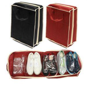 Mala Organizadora de Sapatos para Viagem Waterproof | Preto | Vermelho