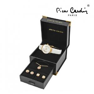 Conjunto Pierre Cardin® Women's White'n Gold | Relógio | Colar | 4 Brincos