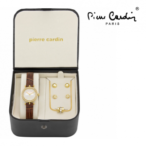 Conjunto Pierre Cardin® Classic Gold Love | Relógio | Colar | 4 Brincos