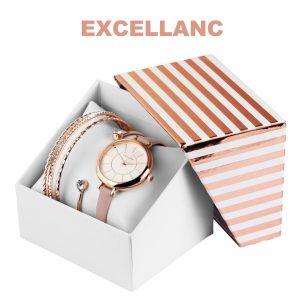 Conjunto com Relógio Excellanc® Circle of Love rose | Relógio e 4 Pulseiras