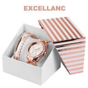 Conjunto com Relógio Excellanc® Rose Set   Relógio e 4 Pulseiras