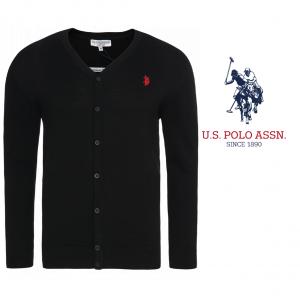 U.S. Polo ® Casaco de Malha Preto Logo Vermelho