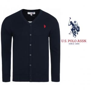 U.S. Polo ® Casaco de Malha Azul Logo Vermelho