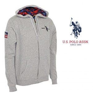 U.S. Polo ® Casaco Cinzento Logo Azul Com Capuz