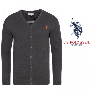 U.S. Polo ® Casaco de Malha Cinzento Logo Laranja