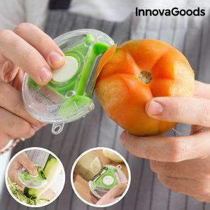 Descascador e Cortador Giratório 4 em 1 InnovaGoods Kitchen Foodies