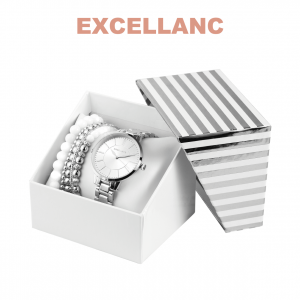 Conjunto com Relógio Excellanc® Pearl Love Silver   Relógio e 5 Pulseiras