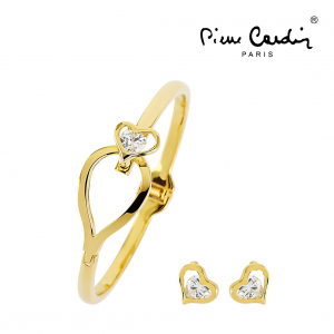 Conjunto Pierre Cardin® Conjunto Pulseira + 2 Brincos | Love Gold