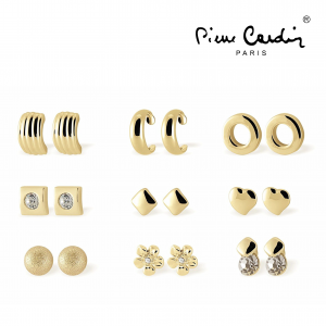 Conjunto Pierre Cardin® 9 Pares Brincos Dourado e Cristais