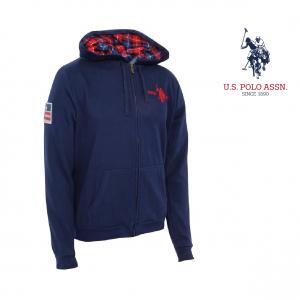 U.S. Polo ® Casaco Azul Logo Vermelho Com Capuz