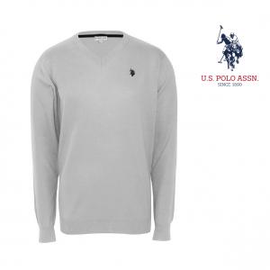 U.S. Polo ® Camisola de Malha V-Neck Cinzenta Logo Verde
