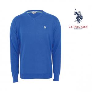 U.S. Polo ® Camisola de Malha V-Neck Azul Logo Cinzento