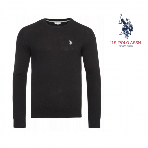 U.S. Polo ® Camisola de Malha Preta Logo Cinzento