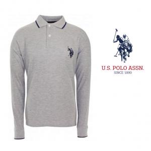 U.S. Polo ® Cinzento Logo Azul Marinho