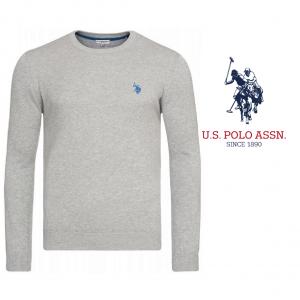 U.S. Polo ® Camisola de Malha Cinzenta Logo Azul