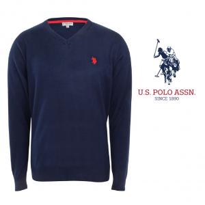 U.S. Polo ® Camisola de Malha V-Neck Azul Marinho Logo Vermelho