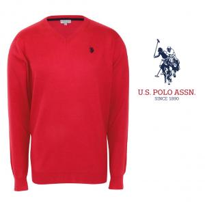 U.S. Polo ® Camisola de Malha V-Neck Vermelha Logo Preto