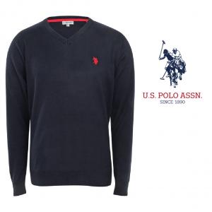 U.S. Polo ® Camisola de Malha V-Neck Preta Logo Vermelho