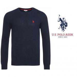 U.S. Polo ® Camisola de Malha Azul Marinho Logo Vermelho