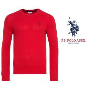 U.S. Polo ® Camisola de Malha Vermelha Logo Preto