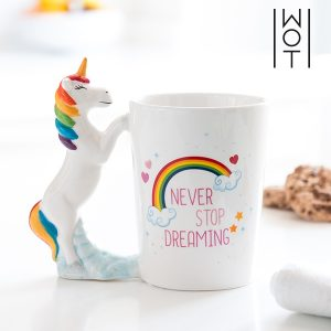 Caneca 350 ml Unicórnio Never Stop Dreaming Wagon Trend