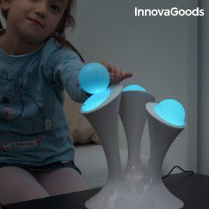 Lâmpada LED Multicolor com 3 Esferas Fluorescentes Portáteis