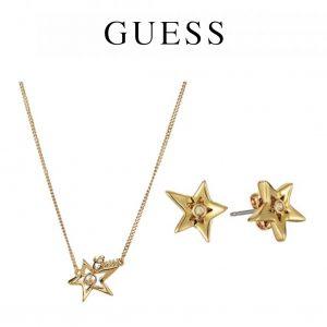 Conjunto Guess® Golden Stars | 1 Colar e 2 Brincos