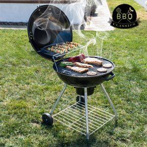 Churrasqueira a Carvão Com Tampa e Rodas Black BBQ Classic