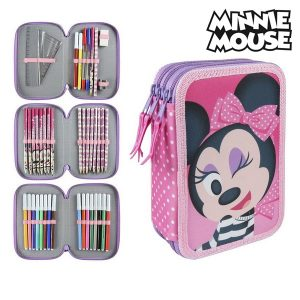Estojo Triplo Minnie Mouse 3608 Cor de rosa | Produto Licenciado!