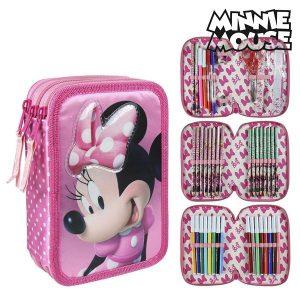 Estojo Triplo Minnie Mouse 93523 Cor de Rosa | Produto Licenciado!