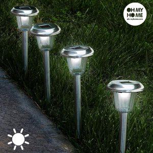Pack de 4 Luzes Solar Circular Tocha Oh My Home