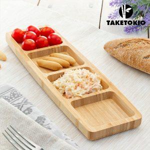 Bandeja de Bambu Com 4 Compartimentos TakeTokio