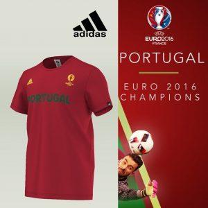 Portugal Campeão Europeu | Adidas® T-Shirt Portugal Uefa Euro 2016 | Tecnologia Climalite®