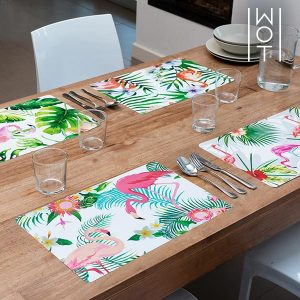Pack de 4 Individuais Flamingo Tropical Wagon Trend