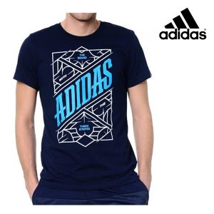 Adidas® T-Shirt Three Stripes Marine Blue   Tecnologia Climalite®