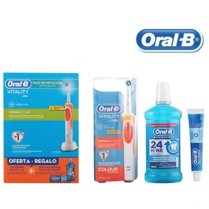 Toothbrush, Toothpaste and Mouthwash Set Vitality Crossaction Oral-B (3 pcs