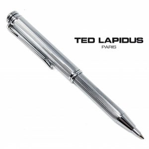 Caneta Ted Lapidus Paris® S5601202 | Telescopic Pen Silver Guilloche Lined Finish