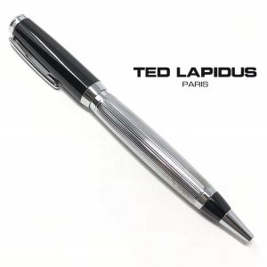 Caneta Ted Lapidus Paris ® S5601001 | Retractable Ballpoint Black Lacquered - Chrome Guilloche Lined Finish Grip